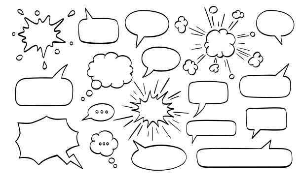 große reihe von sprechblasen. - blase physikalischer zustand stock-grafiken, -clipart, -cartoons und -symbole