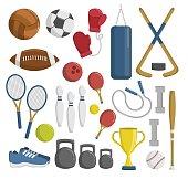 Big set of sport tools and elements cartoon vector illustration
