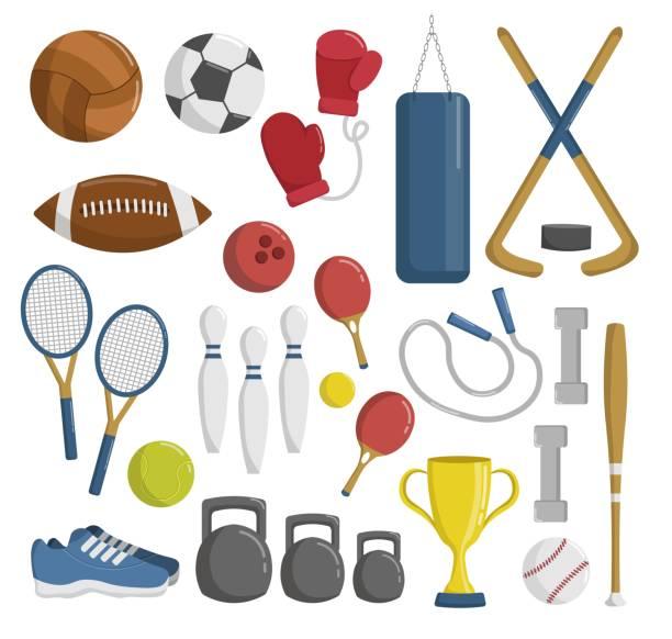 stockillustraties, clipart, cartoons en iconen met grote reeks van sport tools en elementen cartoon vectorillustratie - sportartikelen