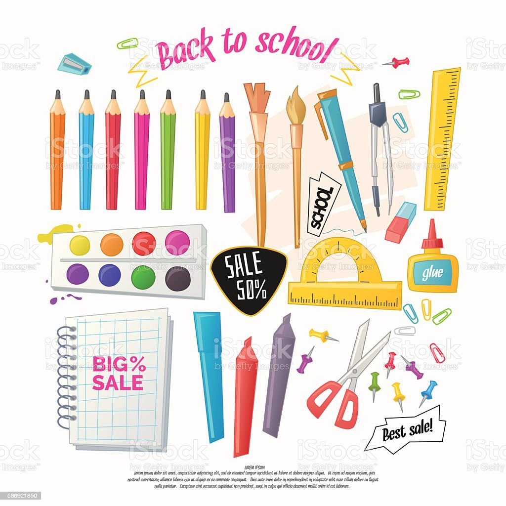 Big set of stationery for school vector art illustration