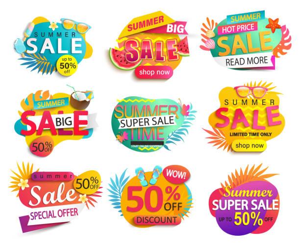 여름 세일 및 할인 스티커의 큰 세트. - summer stock illustrations