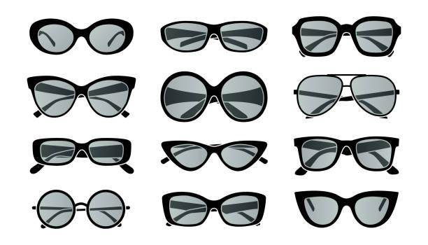 Big set of sunglasses vector art illustration