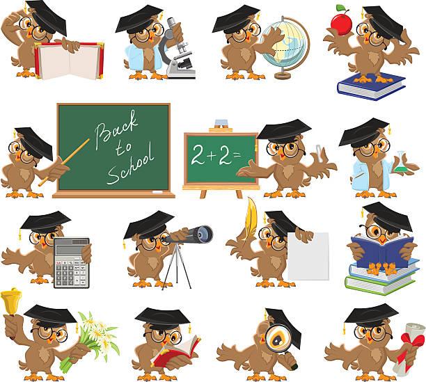 ilustrações, clipart, desenhos animados e ícones de grande conjunto de professor coruja - professor de pré escola