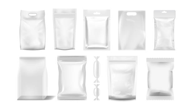 big set of transparent empty plastic packaging - torba stock illustrations