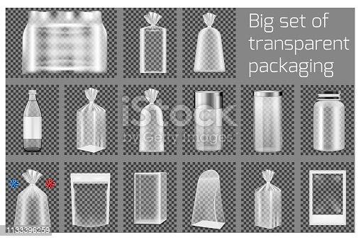 Big set of transparent packaging.