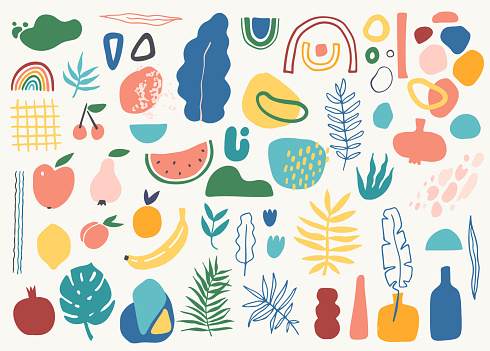 Big set of tropic leaves, fruits, pottery and abstract shapes in modern contemporary collage style.