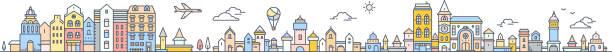 Grand ensemble d'urbain ville européenne avec arbre, nuage, montgolfière et avion. Vector illustration colorée du paysage de la ville détaillée sur fond blanc. - Illustration vectorielle