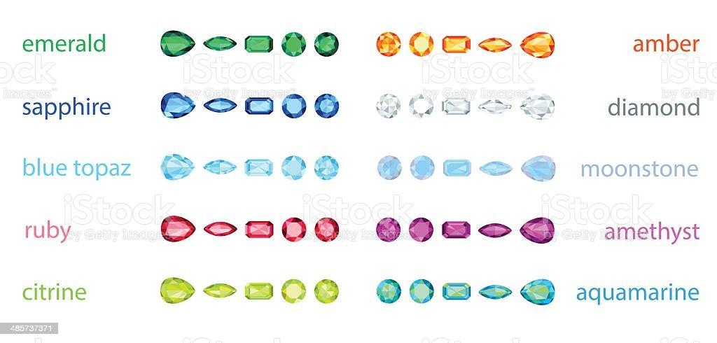 big set of variety gemstone. EPS10, no gradient, no transparency royalty-free big set of variety gemstone eps10 no gradient no transparency stock vector art & more images of amber