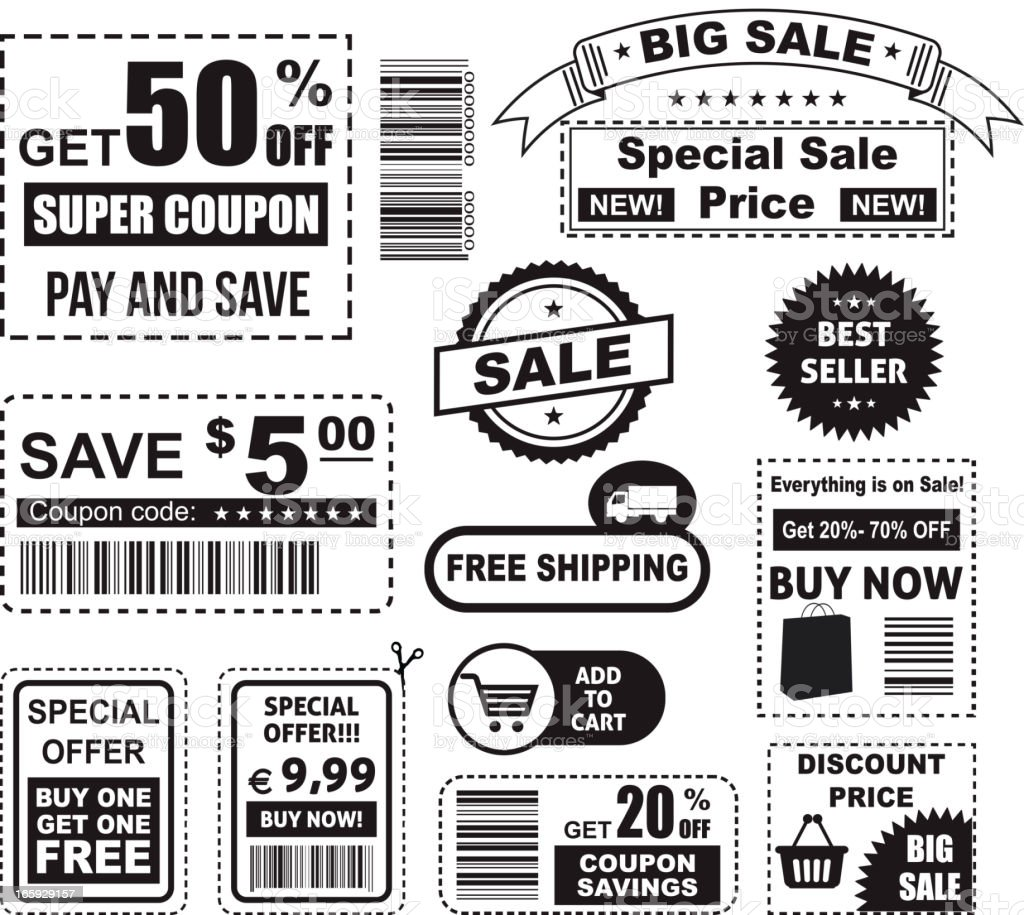 Big set of various coupons in black and white vector art illustration