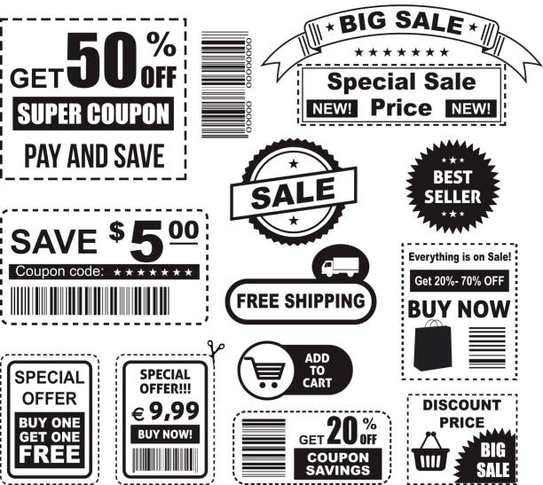 Big set of various coupons in black and white Big coupon set, vector illustration coupon stock illustrations