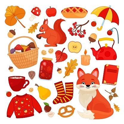 Big set of vector autumn illustrations