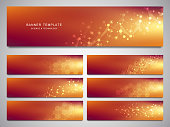 Big set of vector banners and headers for site with molecules background and neural network. Genetic engineering or laboratory research. Abstract background for medical, science and technology design