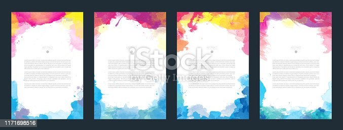 Bundle set of bright vector colorful watercolor background for poster, brochure or flyer