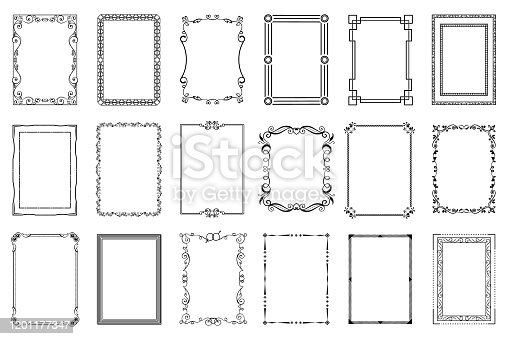 Big set of vector decorative frames. Isolated on white