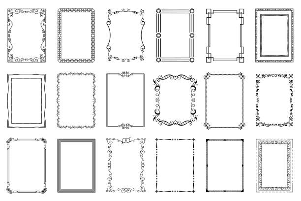 Big set of vector decorative frames Big set of vector decorative frames. Isolated on white book borders stock illustrations