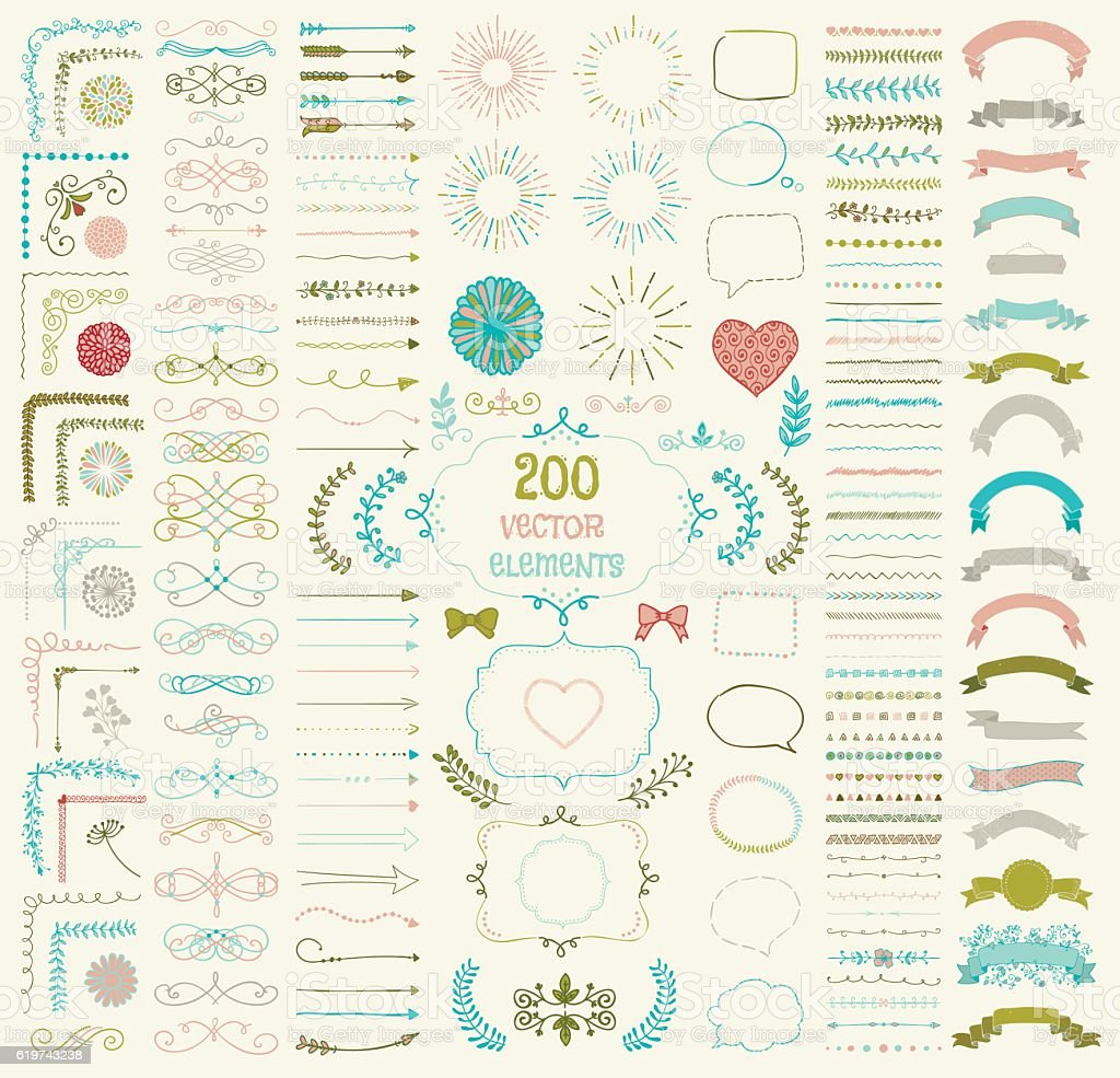 Big Set of Vector Decorative Hand Drawn Design Elements vector art illustration