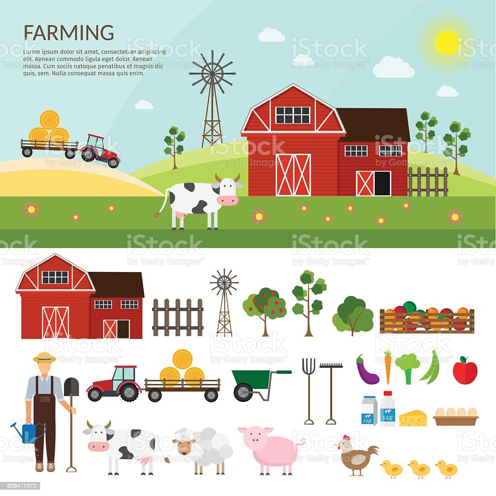 Big set of vector farm elements and animals background. - Illustration vectorielle