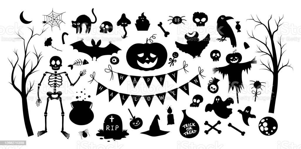Big Set Of Vector Halloween Silhouette Elements Traditional Samhain Party Black And White Clipart Scary Shadow Collection With Jackolantern Spider Ghost Skull Bats Trees Autumn Holiday Design Stock Illustration Download Image