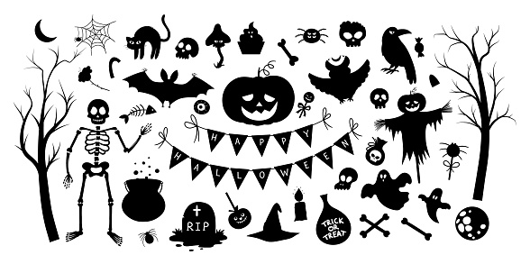 Big set of vector Halloween silhouette elements. Traditional Samhain party black and white clipart. Scary shadow collection with jack-o-lantern, spider, ghost, skull, bats, trees. Autumn holiday design