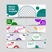 Big set of vector horizontal white web banners with circular multi-colored design elements and a place for a photo. Standard Size Templates