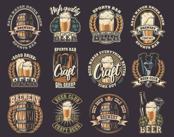 stockillustraties, clipart, cartoons en iconen met grote set van vectorillustraties op het bier thema. - bier