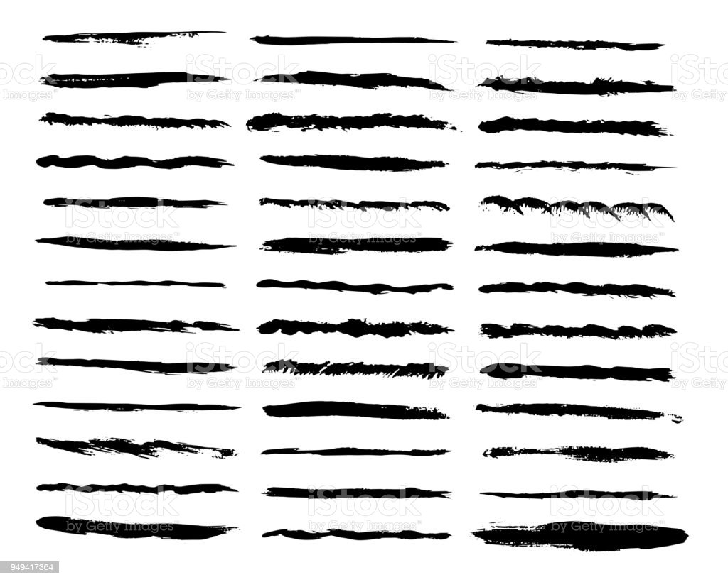 Big set of vector lines. Wave, dotted, straight, patterns black strokes. Hand painted design elements. Ink brush drawing vector art illustration