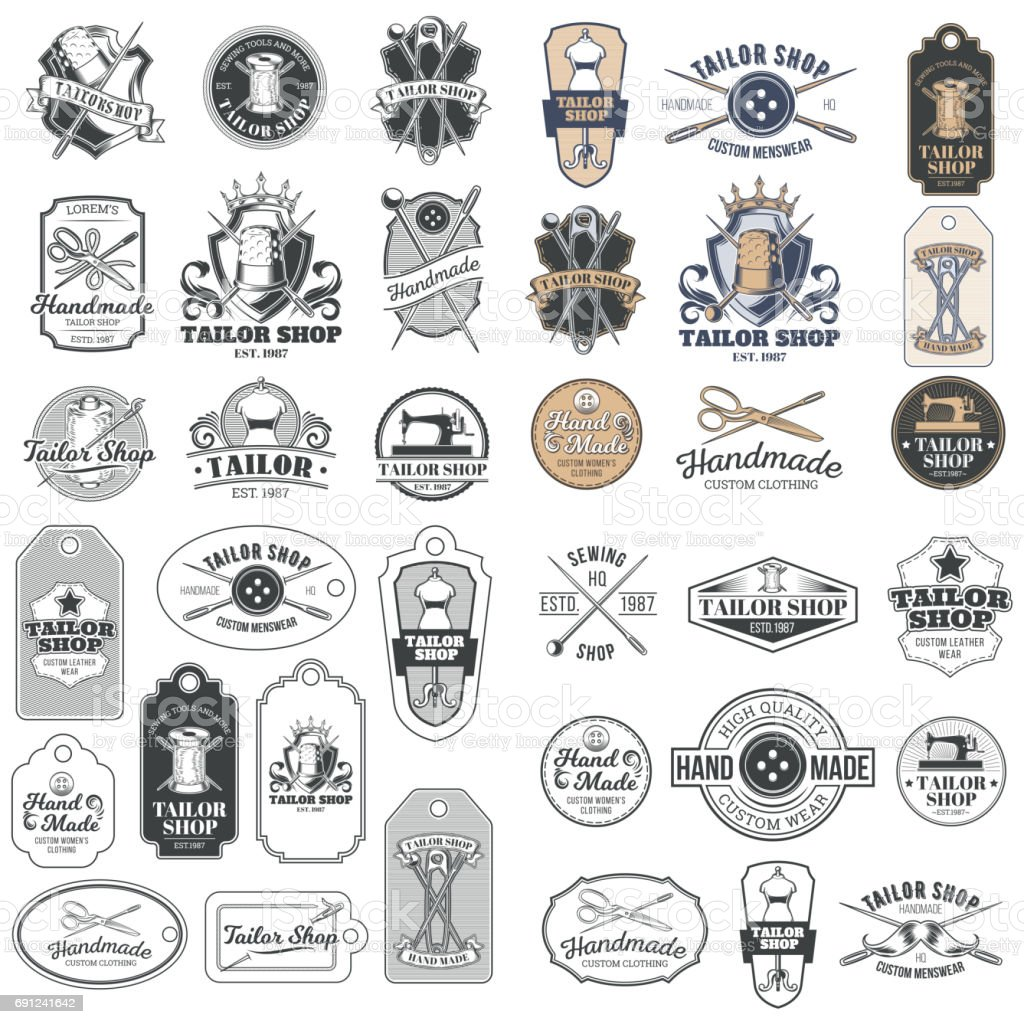 Big set of vector vintage tailor badges, stickers, emblems , signage vector art illustration