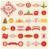 Big set of vintage Christmas labels with retro colors