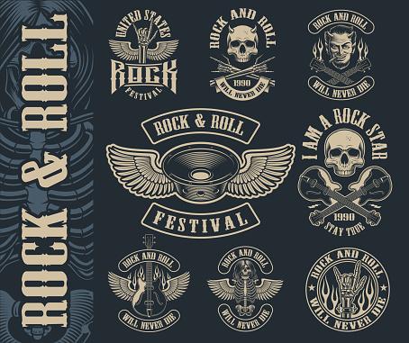 Big set of vintage rock and roll emblems on dark background.