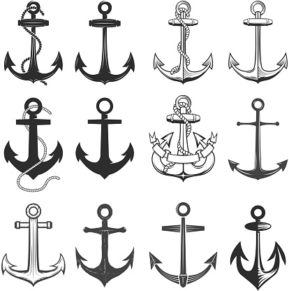 Big set of vintage style anchors isolated on white background.