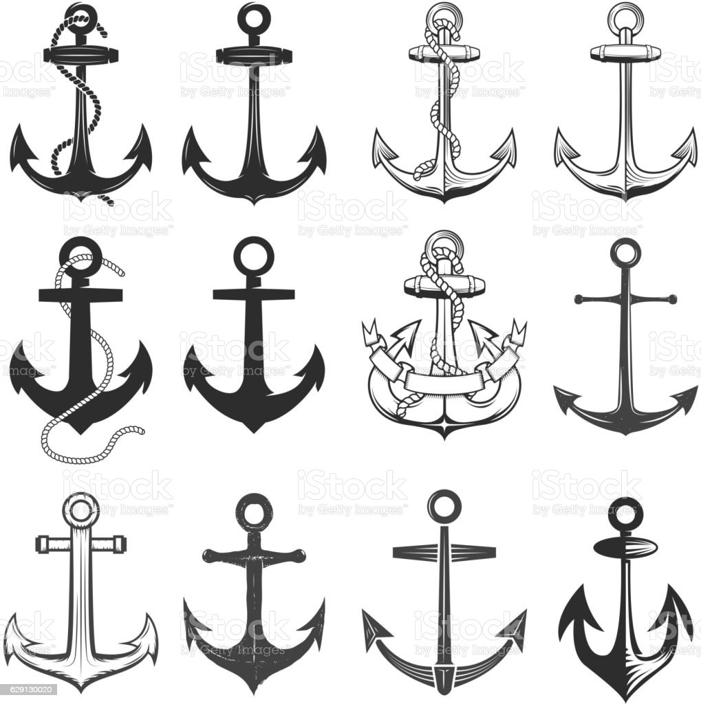 Big set of vintage style anchors isolated on white background. - ilustración de arte vectorial