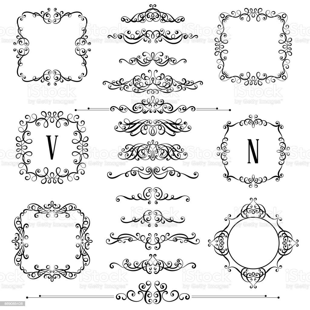 Big set of vintage styled calligraphic frames and flourishes complex big set of vintage styled calligraphic frames and flourishes complex and exquisite decoration for invitation stopboris Gallery