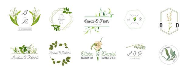 große reihe von wedding monogram logos kollektion, handgezeichnete aquarell rustikale und blumige vorlagen für einladungskarten, save the date, elegante identität für restaurant, boutique, café in vektor - monogrammarten stock-grafiken, -clipart, -cartoons und -symbole