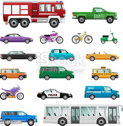 Big set of wheeled transport vectors. Flat design. Collection of personal, public, special, office, cars, motorcycles, buses, bicycles. For transport concepts, infographic, ad, app icon, games design