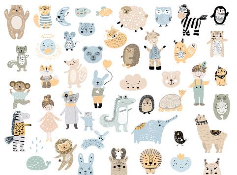 Big set of wild cartoon animals & pets. Cute handdrawn kids clip art collection. Vector illustration.