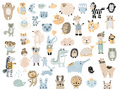 Big set of wild cartoon animals & pets. Cute handdrawn kids clip art collection. Vector illustration