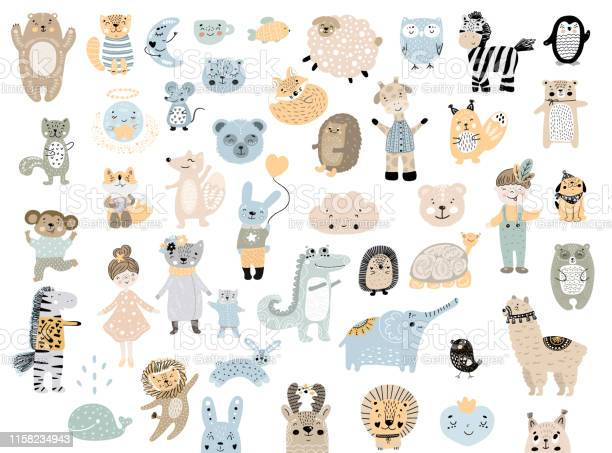Big set of wild cartoon animals pets cute handdrawn kids clip art vector id1158234943?b=1&k=6&m=1158234943&s=612x612&h=a9ncqewpxjdpjgkmtkemldxohpsowhwnxoccwuhpttu=