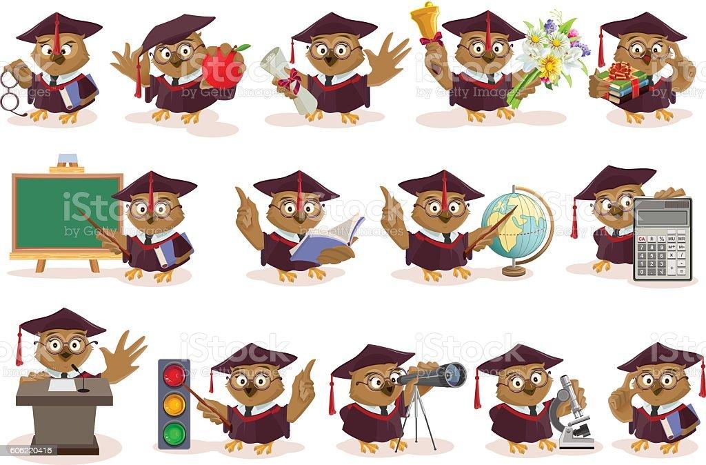 Big set owl teacher - ilustración de arte vectorial