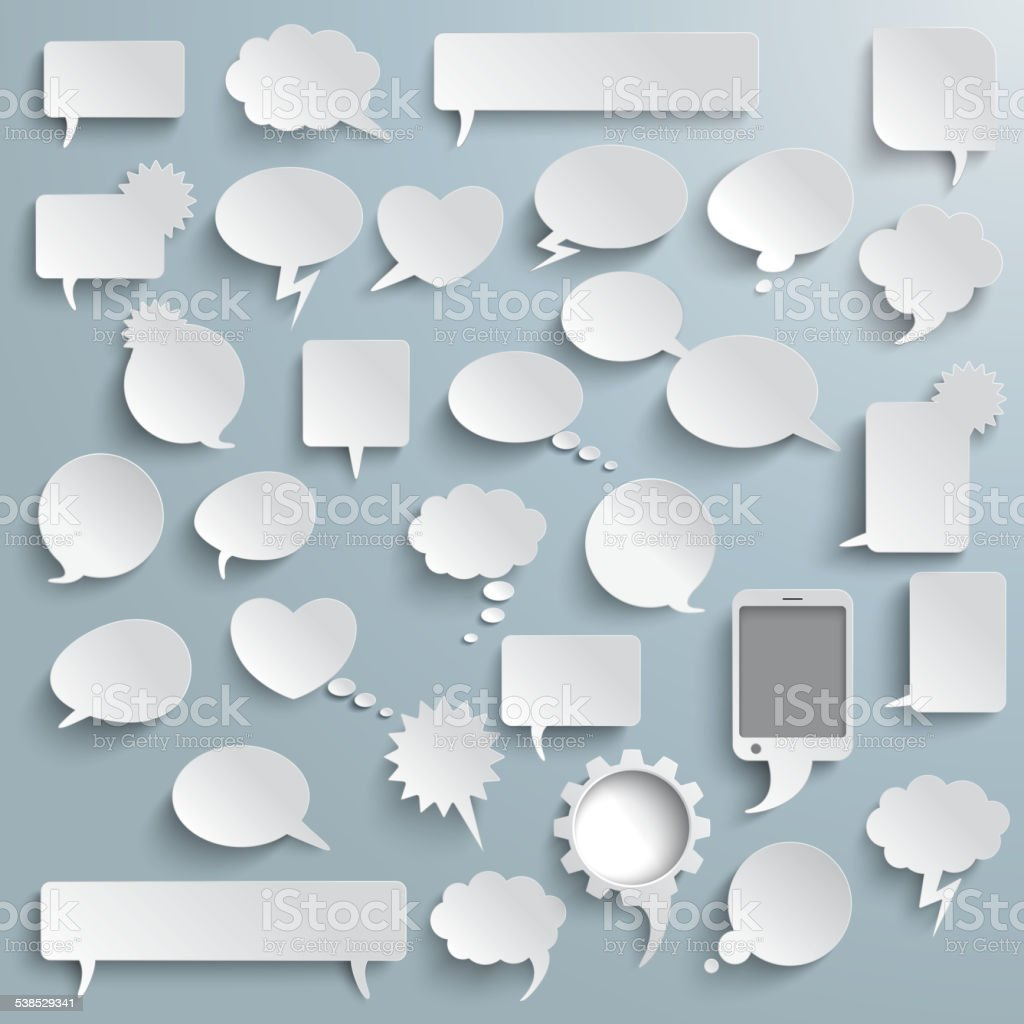Grande conjunto de bolhas de papel com sombras de comunicação - ilustração de arte em vetor