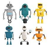 Big set robots cartoon vector illustration