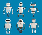 Big set robots cartoon vector illustration