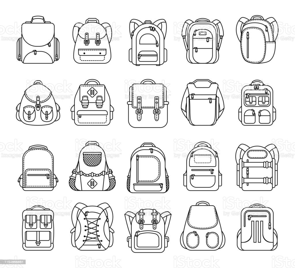 bbc11991d Big set school backpack, sport and travel bag line icon isolated on white  background - Illustration .