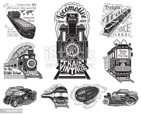 Big set silhouettes of different transport train, ship, cargo tank, car, tram and balloon for design print print