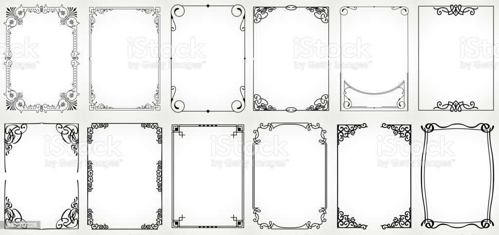 Big set Template of Decorative vintage frames,borders rectangular shape. Old backgrounds . vector art illustration