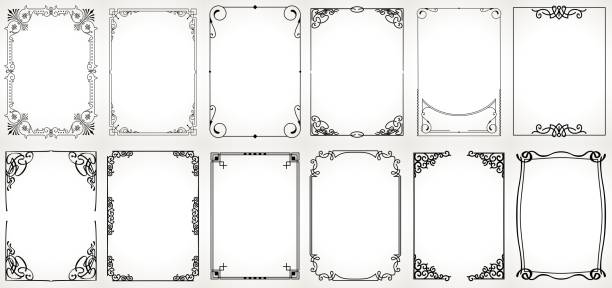 ilustrações de stock, clip art, desenhos animados e ícones de big set template of decorative vintage frames,borders rectangular shape. old backgrounds . - enfeitado