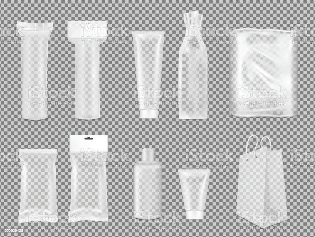 Big set. Transparent empty plastic packaging. Blank foil sachet for cosmetic or medicine