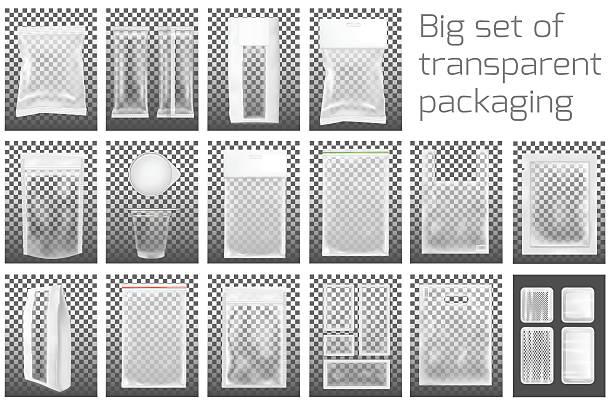 big set. transparent empty plastic packaging with zipper. - plastikhülle stock-grafiken, -clipart, -cartoons und -symbole