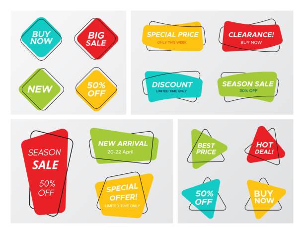 帶鮮豔顏色的大套裝幾何銷售標籤 - 長方形 幅插畫檔、美工圖案、卡通及圖標