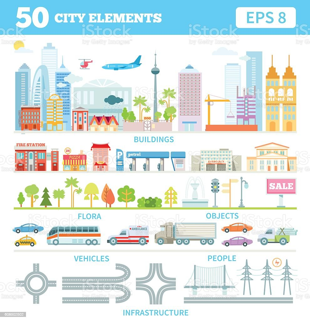 Big set with city elements to make your own city. vector art illustration