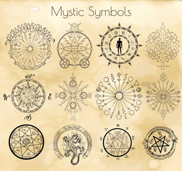 Big set with mystic and occult symbols on textured background vector art illustration